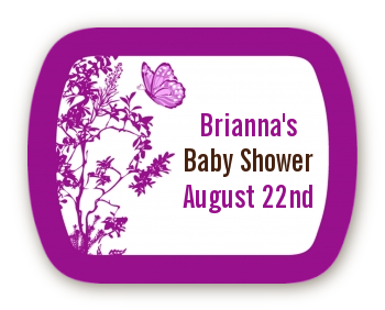 Butterfly - Personalized Baby Shower Rounded Corner Stickers