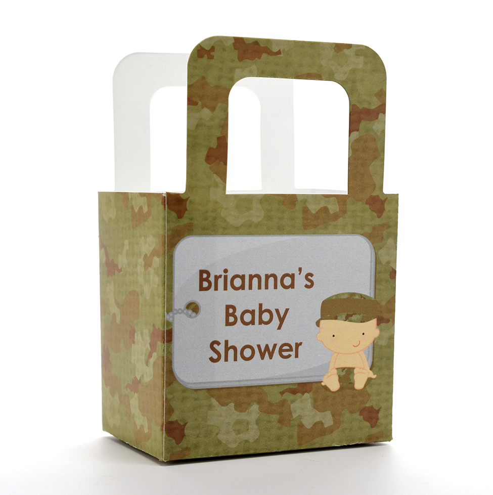 Camo Military - Personalized Baby Shower Favor Boxes