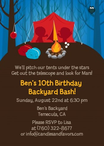 Camping birthday party invitations candles and favors camping birthday party invitations filmwisefo