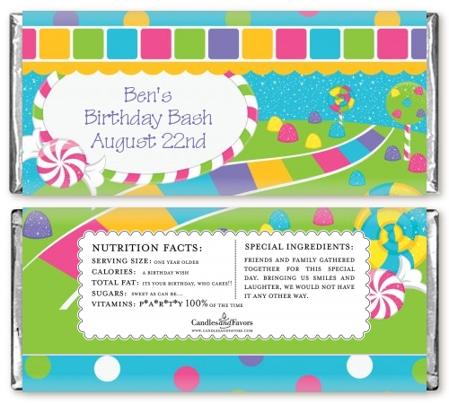 Candy Land Birthday Party Candy Bar Wrappers Candles