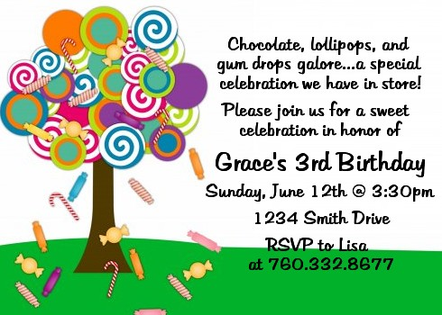 candy tree birthday party invitations candles and favors