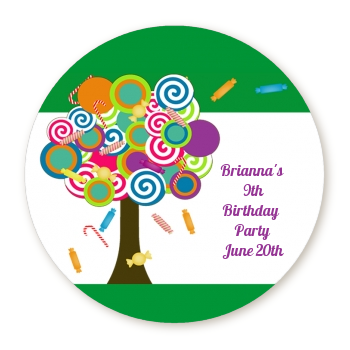 Candy Tree - Round Personalized Birthday Party Sticker Labels