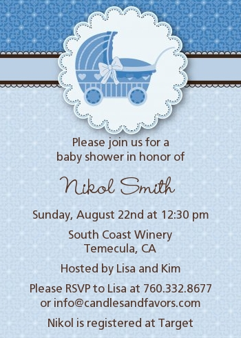 Carriage Baby Shower Invitations Candles And Favors
