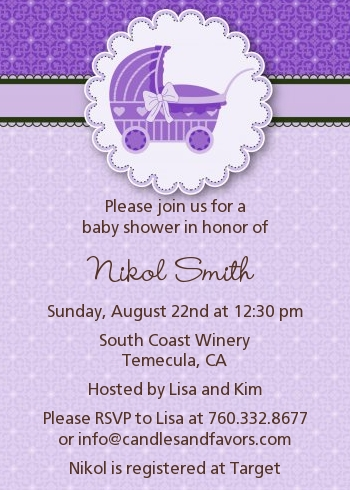 carriage baby shower invitations blue