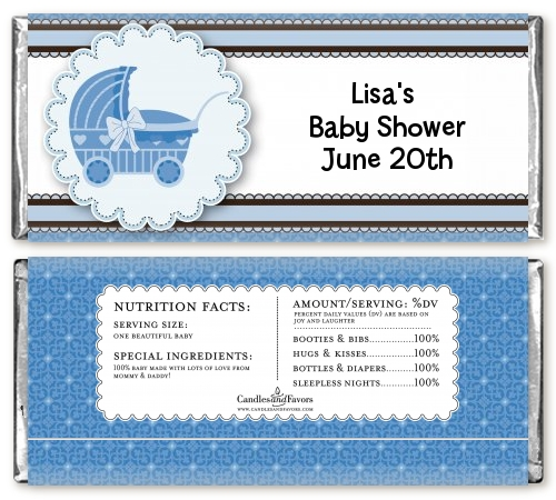 Carriage - Personalized Baby Shower Candy Bar Wrappers
