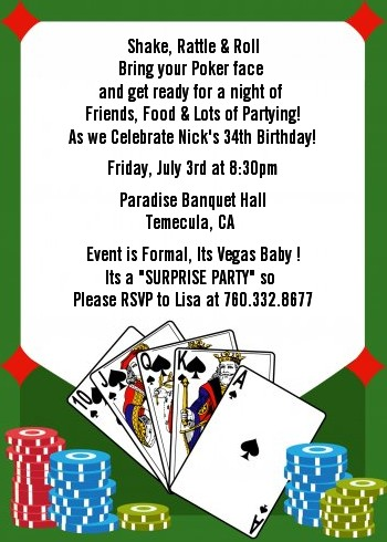 casino night royal flush birthday party invitations | candles and, Party invitations