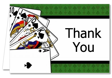 Birthday Party Thank You Cards Casino Night Royal Flush Thank You
