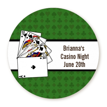 Casino Night Royal Flush - Round Personalized Birthday Party Sticker Labels