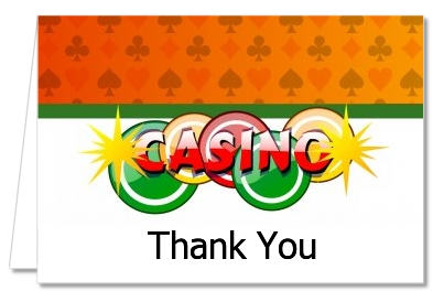 Birthday Party Thank You Cards Casino Night Vegas Style Thank You