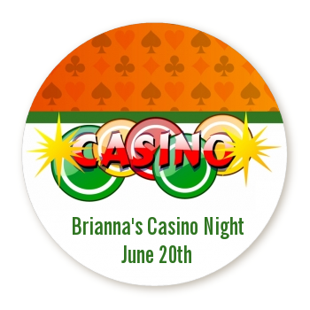 Casino Night Vegas Style - Round Personalized Birthday Party Sticker Labels