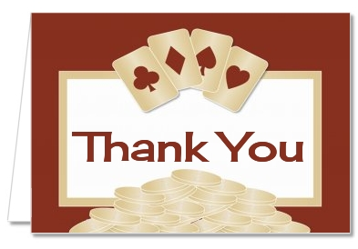 Birthday Party Thank You Cards Casino Night Poker Night Thank You