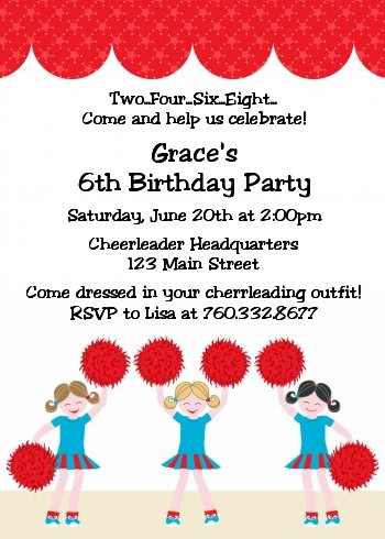 Cheerleader - Birthday Party Invitations