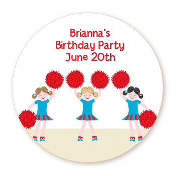 Cheerleader - Round Personalized Birthday Party Sticker Labels