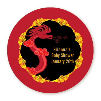 chinese new year dragon round personalized baby shower sticker labels
