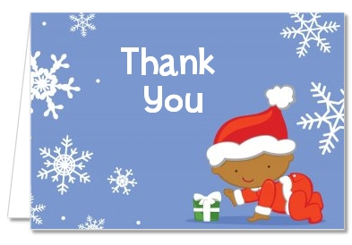 christmas baby snowflakes african american baby shower thank you cards