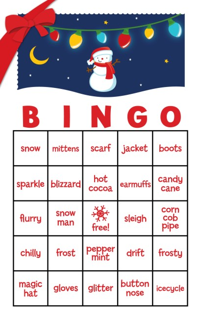 Family Games For Free : Snowman family with lights free christmas bingo game