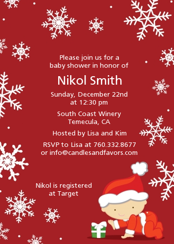 Christmas Baby Snowflakes - Baby Shower Invitations Blue Background