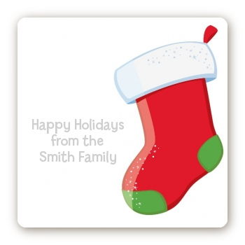 Christmas Stocking - Square Personalized Christmas Sticker Labels Green