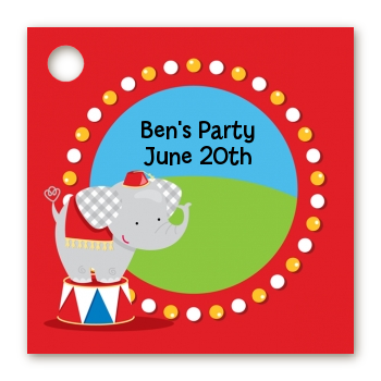 Circus Elephant - Personalized Birthday Party Card Stock Favor Tags