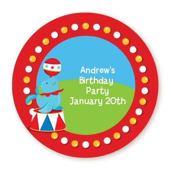 Circus Seal - Round Personalized Birthday Party Sticker Labels