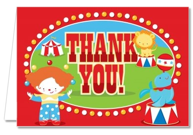 Birthday Party Thank You Cards Circus Thank You Notes