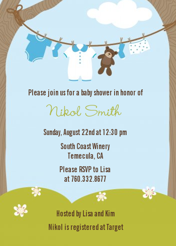 Clothesline it 39 s a boy baby shower invitations candles for Baby clothesline decoration baby shower