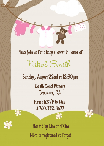 Clothesline it 39 s a girl baby shower invitations candles for Baby clothesline decoration baby shower
