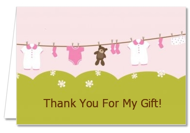 Clothesline It's A Girl - Baby Shower Thank You Cards