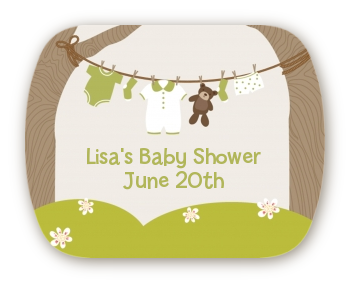 Clothesline It's A Baby - Personalized Baby Shower Rounded Corner Stickers