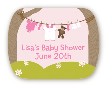 Clothesline It's A Girl - Personalized Baby Shower Rounded Corner Stickers