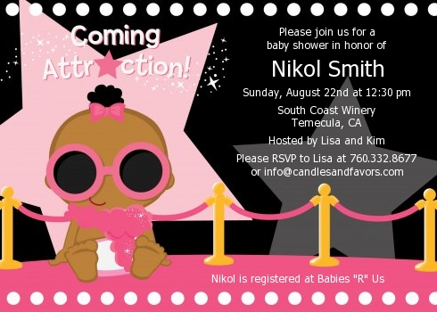 A Star Is Born Hollywood Black|Pink - Baby Shower Invitations Brown Hair