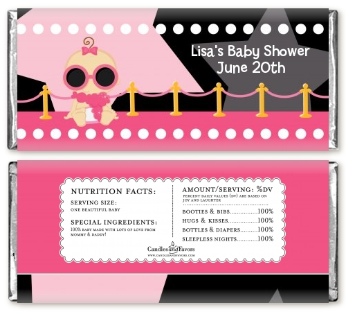 A Star Is Born Hollywood Black|Pink - Personalized Baby Shower Candy Bar Wrappers Blonde Hair