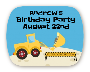 Construction Truck - Personalized Birthday Party Rounded Corner Stickers