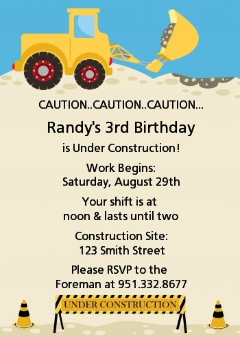 Construction Truck Birthday Party Invitations