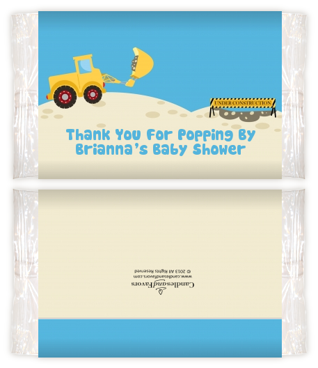 Construction Truck Baby Shower Popcorn Wrappers Baby Shower