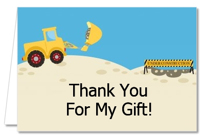 Baby Shower Thank You Cards Construction Truck Thank You