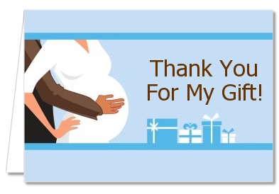 couple expecting baby shower thank you cards couple blue