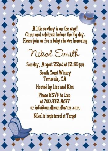 Cowboy Western Baby Shower Invitations Candles and Favors