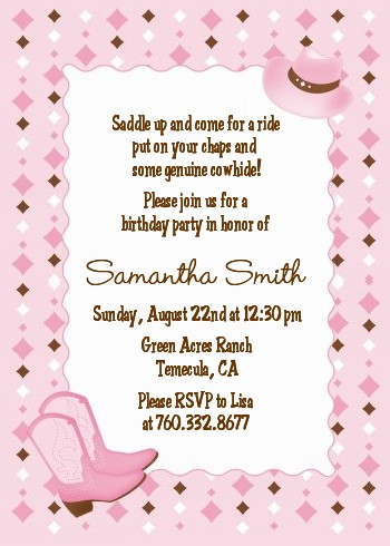 Cowgirl Western Birthday Party Invitations Candles and Favors