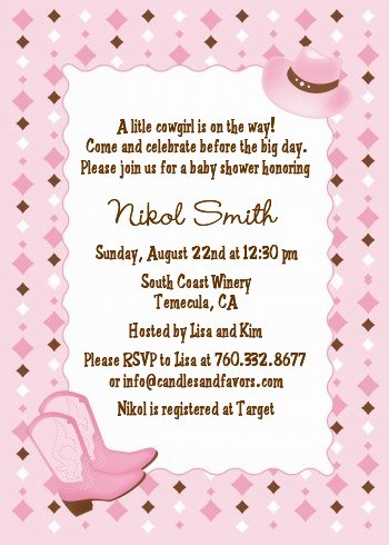 cowgirl western baby shower invitations candles and favors