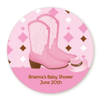 Cowgirl Western - Round Personalized Baby Shower Sticker Labels