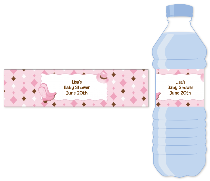 Cowgirl Western Personalized Baby Shower Water Bottle Labels