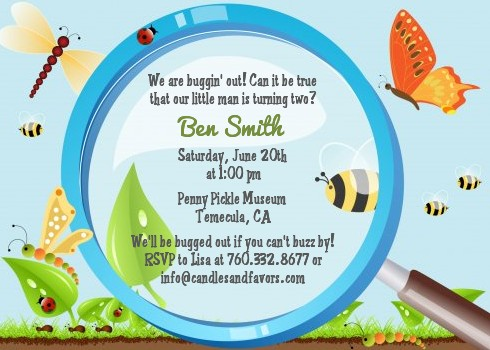 Critters Bugs Insects Birthday Party Invitations – Insect Birthday Invitations