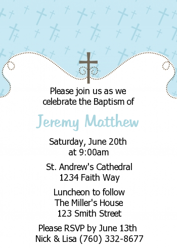 Cross Blue Baptism Christening Invitations Candles And