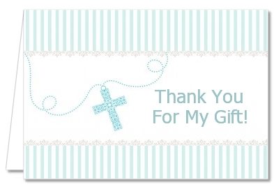 Cross Blue Necklace - Baptism / Christening Thank You Cards