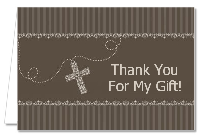 Cross Brown Necklace - Baptism / Christening Thank You Cards