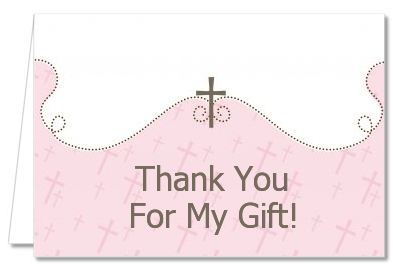 Cross Pink - Baptism / Christening Thank You Cards