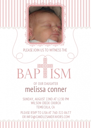 Cross Pink Necklace Photo - Baptism / Christening Invitations
