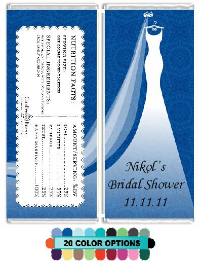 Custom Wedding Dress - Personalized Bridal Shower Candy Bar Wrappers