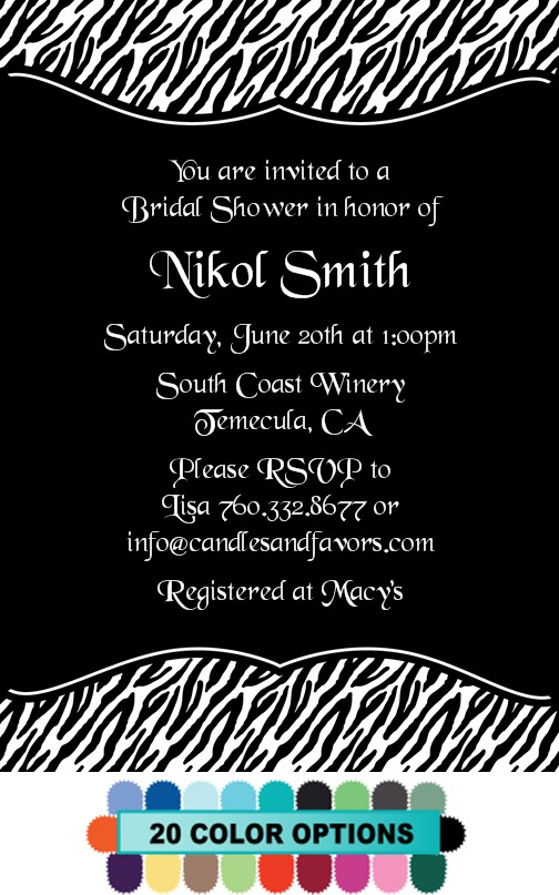 Custom Zebra - Bridal Shower Invitations